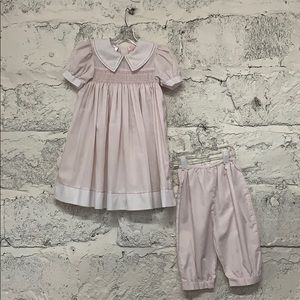 Pale Pink Petit Ami Smocked Dress and Bloomers